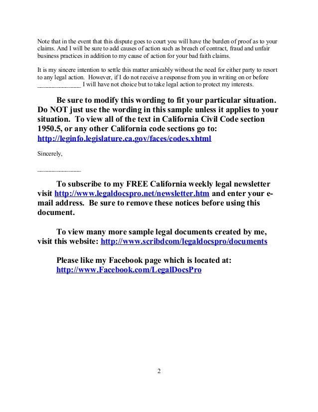 Sample Letter Of Dispute Security Deposit