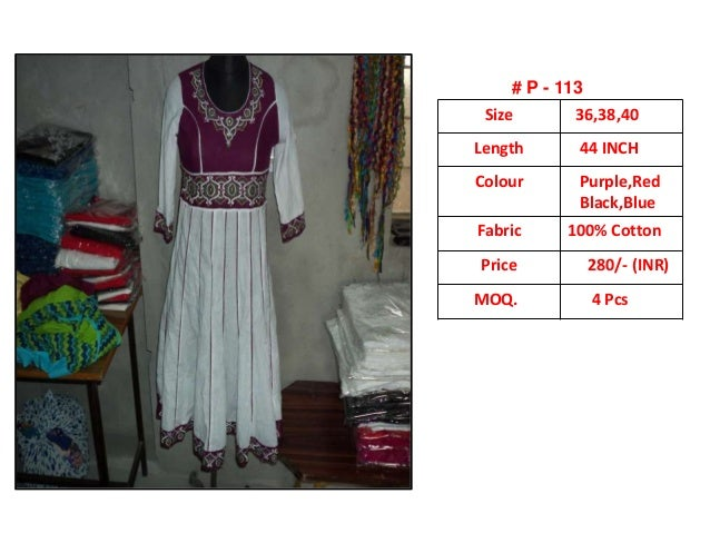 . Size 36,38,40 Length 44 INCH Colour Purple,Red Black,Blue Fabric 100% Cotton Price 280/- (INR) MOQ. 4 Pcs # P - 113