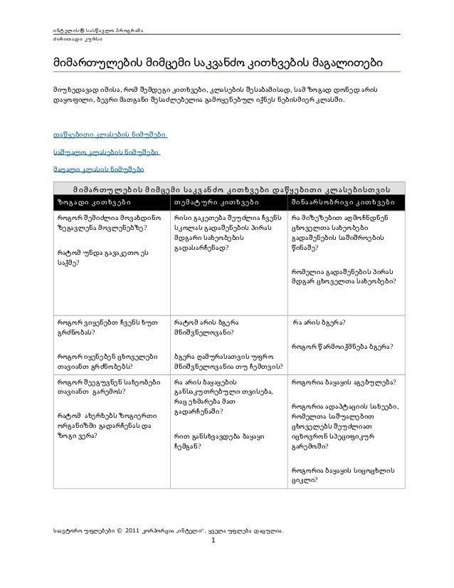 ინტელის® სასწავლო პროგრამა ძირითადი კურსი  მიმართულების მიმცემი საკვანძო კითხვების მაგალითები მიუხედავად იმისა, რომ შემდეგ...
