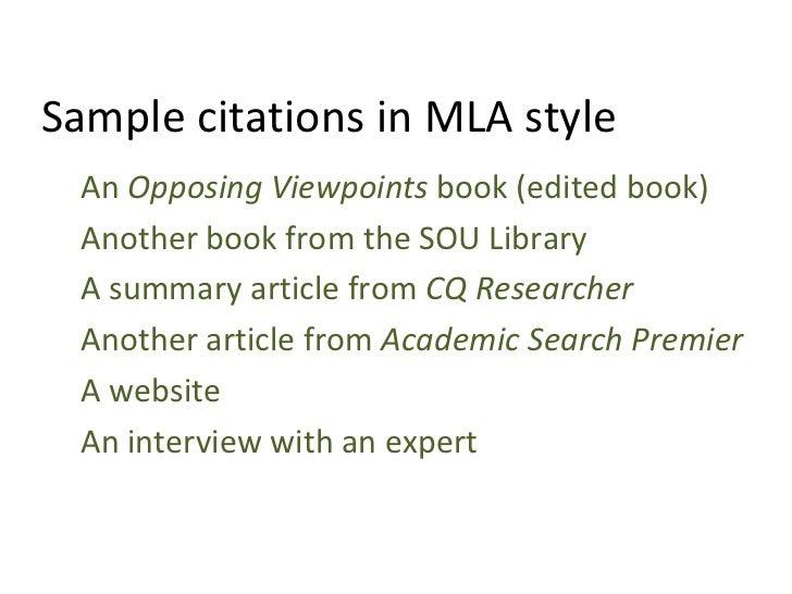 Sample citations in mla style esl class