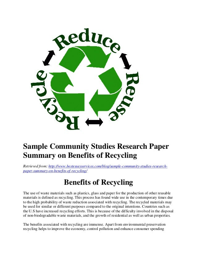 the importance of recycling essay example