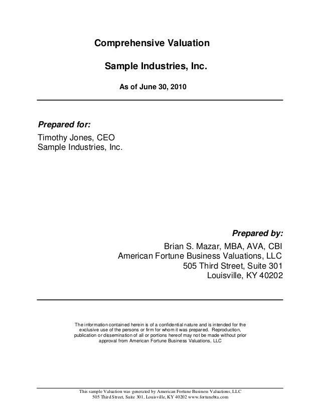 Comprehensive Business Valuation Sample