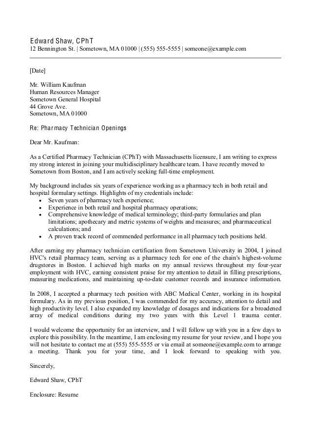 sample cover letter for pharmacist