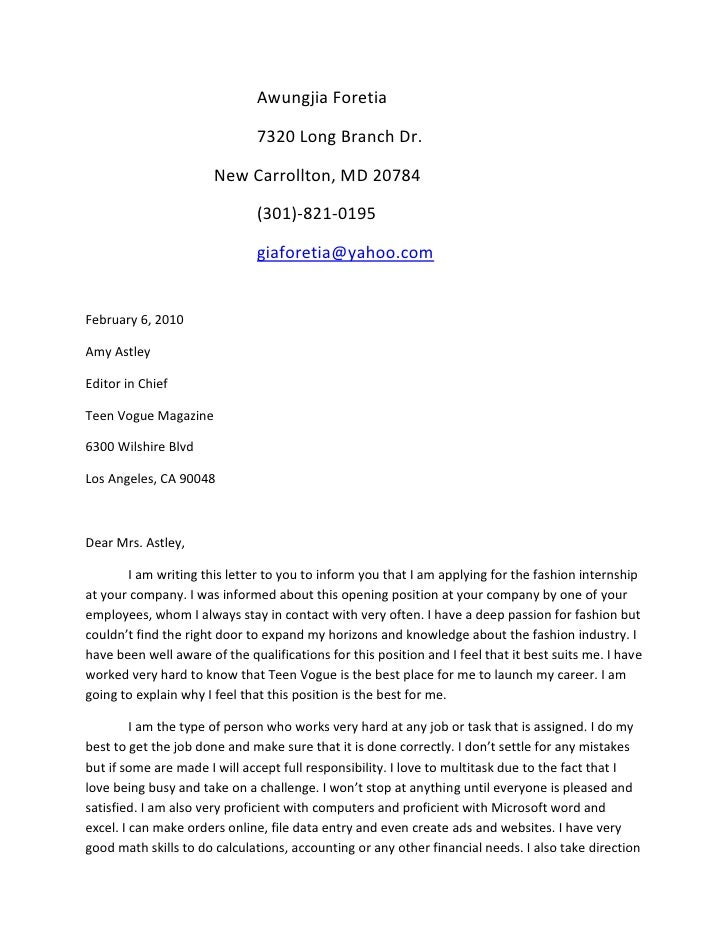 Sample Cover Letter Internship Fashion Magazine