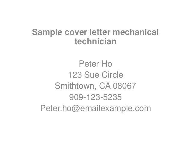 cover letter samples for mechanical technician