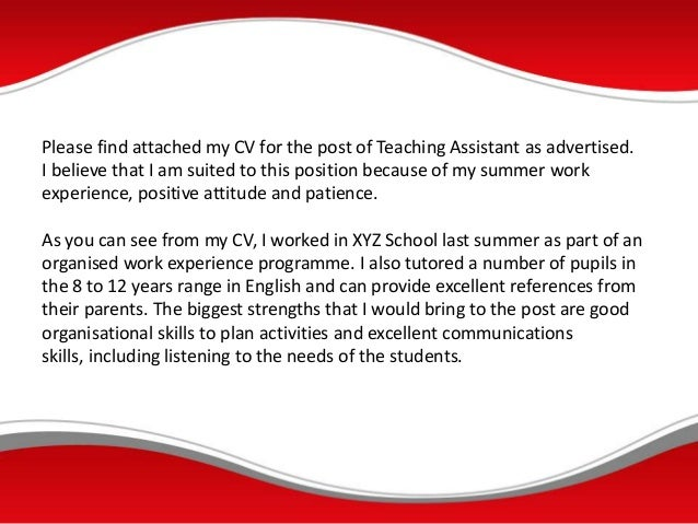 cover letter for teaching assistant work experience