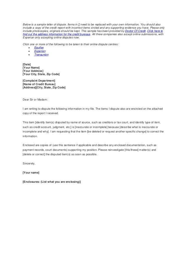 credit report dispute letter template best free home design idea inspiration