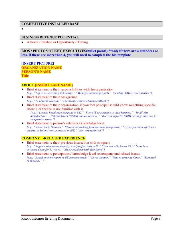 Customer/ Partner Briefing Template For Executive Assistants  Executive Briefing Template