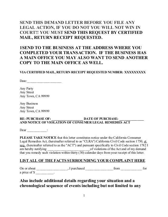Sample Demand Letter To Car Dealership