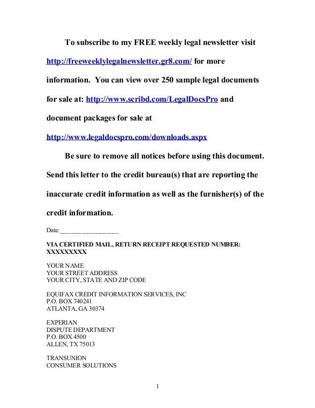 Sample Dispute Letter To Credit Bureau Under Fair Credit
