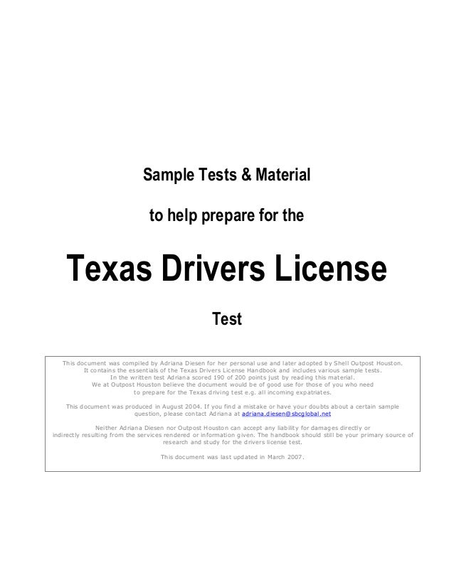 Sample Tests & Material                                to help prepare for the    Texas Drivers License                   ...