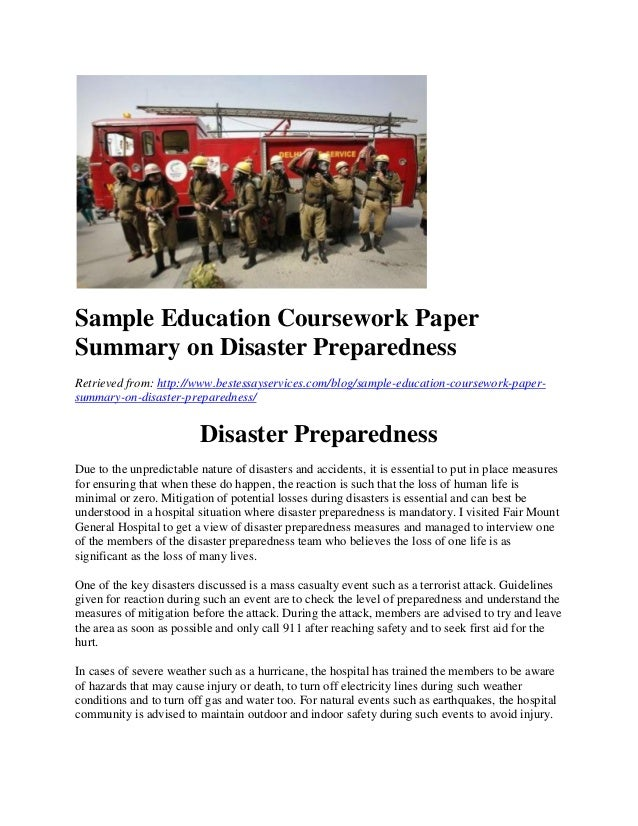 disaster preparedness 2 essay Disaster preparedness in the caribbean this is a short literature review surrounding the level of disaster preparedness that exists in the caribbean as well as the natural disasters that the region faces.