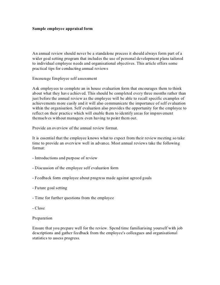 Employee Appraisal Sample Comments Sample Employee Appraisal