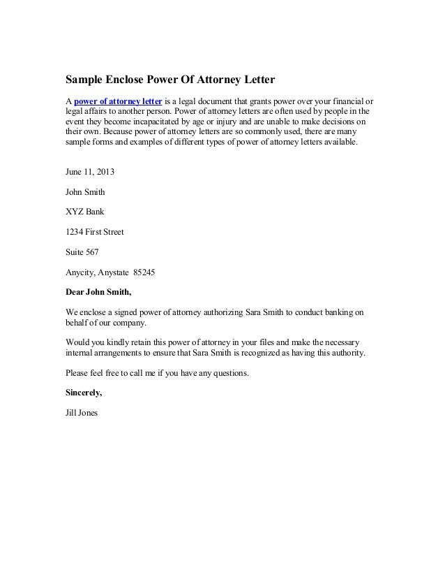 Sample Enclose Power Of Attorney Letter