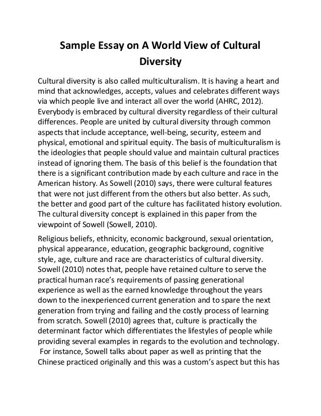 Sample Essay on A World View of CulturalDiversityCultural diversity is ...