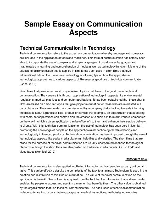 Sample Essay on CommunicationAspectsTechnical Communication in ...