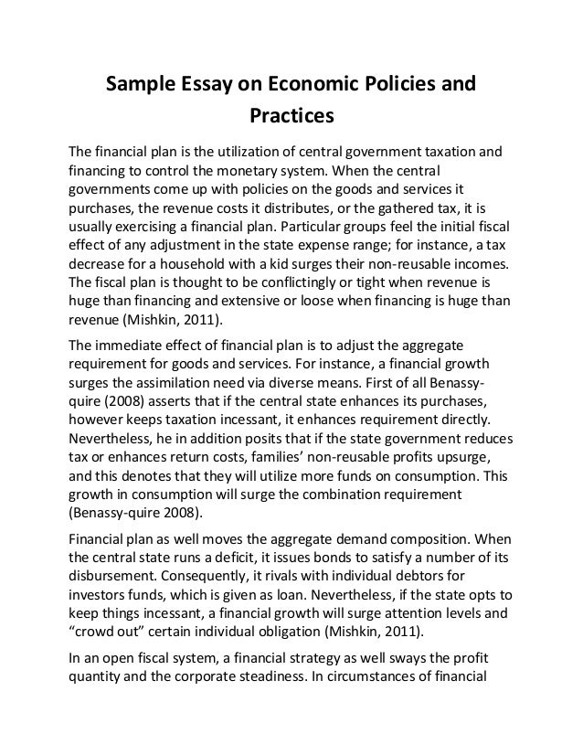 Sample Essay On Economic Policies And Practices