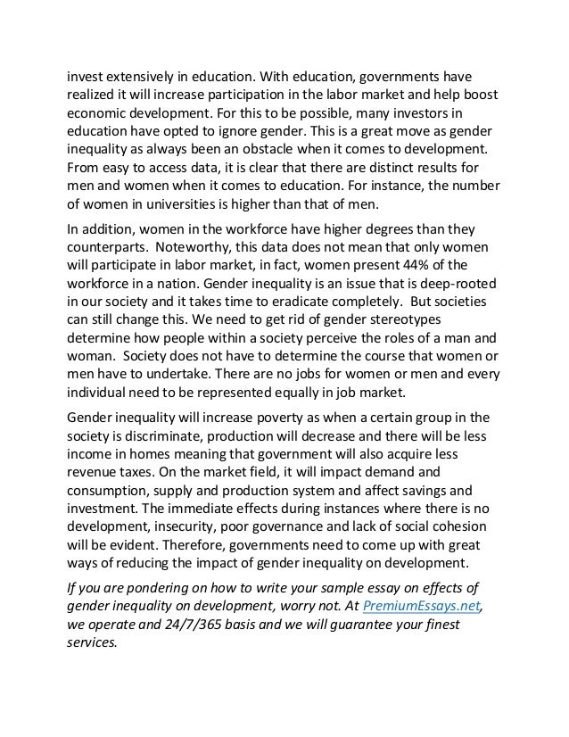 Sample essay on effects of gender inequality on development