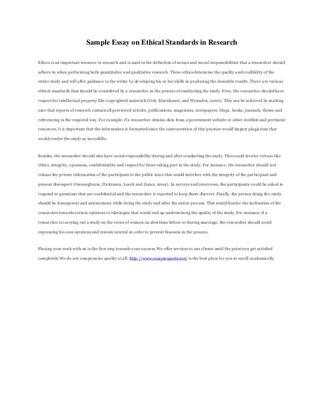 Sample ethics essay