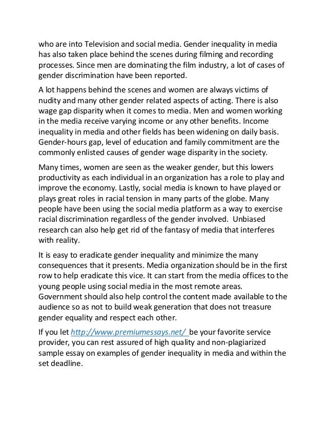 Analytical essay on gender inequality
