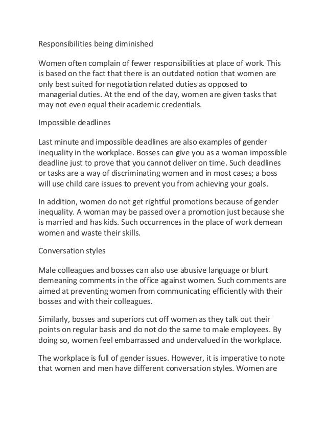 essays discrimination of women Gender discrimination essay sociology: gender and class gender role due to the broad spectrum of research regarding gender discrimination, this paper will primarily focus on women and pregnancy discrimination.