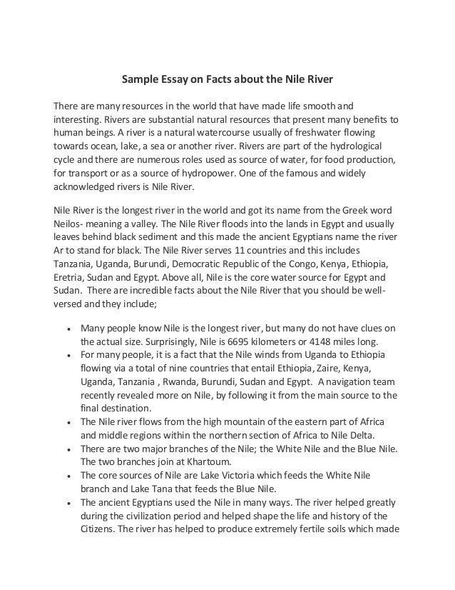 Sample Essay on Facts about the Nile RiverThere are many resources in ...