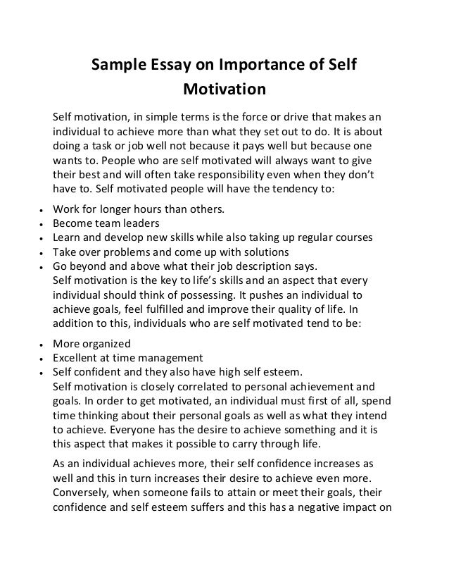 Sample Essay on Importance of SelfMotivationSelf motivation, in simple ...