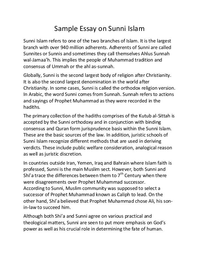 essay on islam Included: religion essay content preview text: islam is the last revealed religion 'islam' is an arabic word meaning 'peace' and 'submission' in its religious sense, it connotes submission to the will of god in its secular sense, it signifies the establishment of peace muhammad identified him.