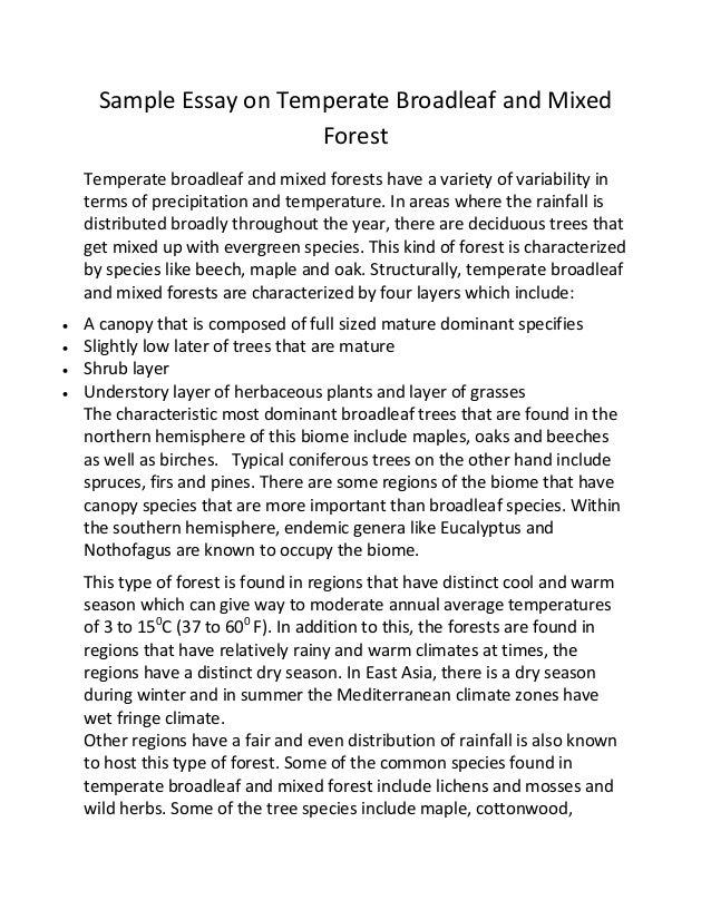 forest and wildlife essay