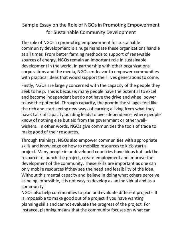 exemplification essay on sustainable development