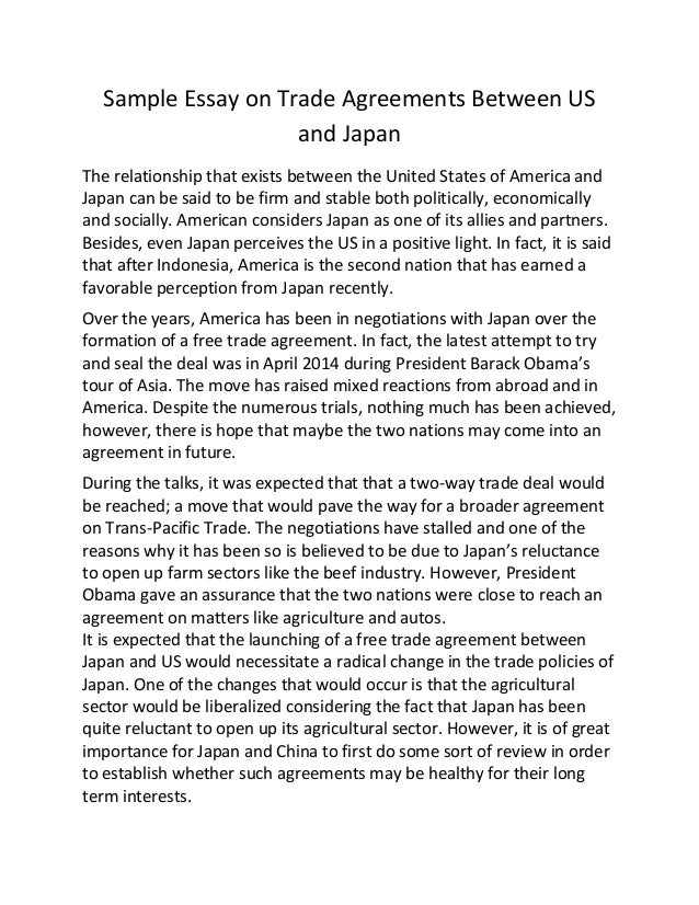 Sample essay on trade agreements between us and japan Sample Essay on ...
