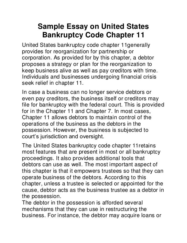 term papers on bankruptcy