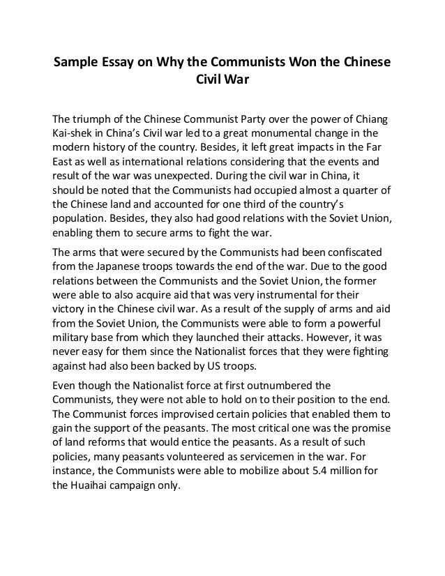 Sample Essay On Why The Communists Won The Chinese Civil War