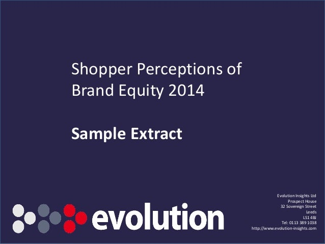 Sample extract   shopper perceptions of brand equity