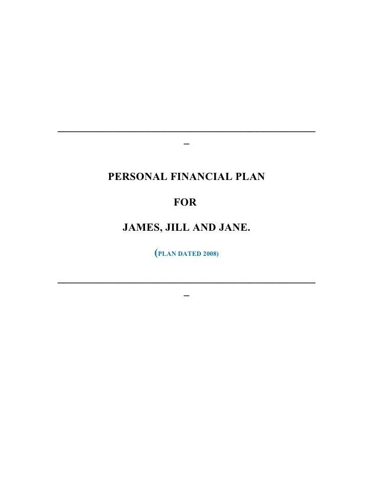 _______________________________________________                        _            PERSONAL FINANCIAL PLAN               ...