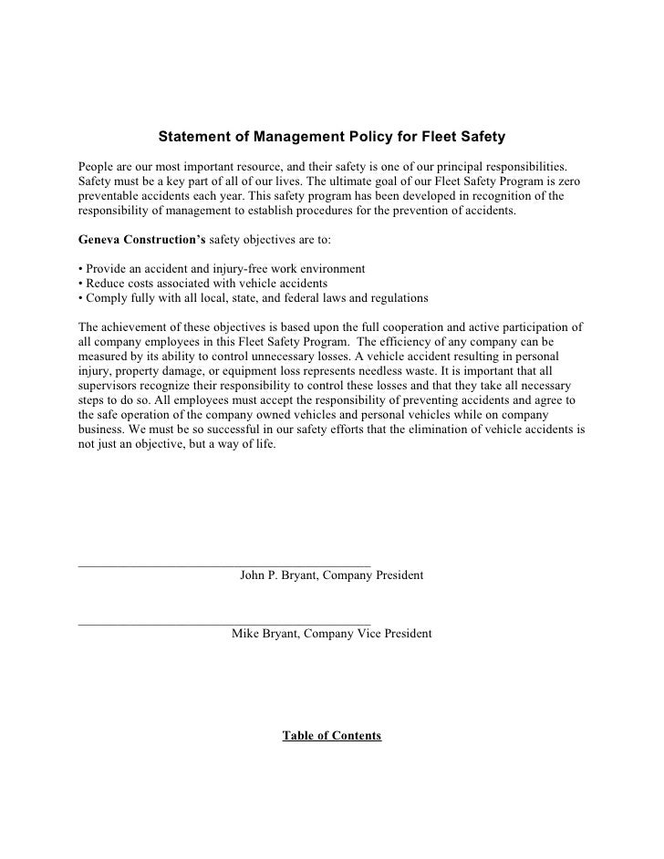 Sample fleet safety program for Company driving policy template