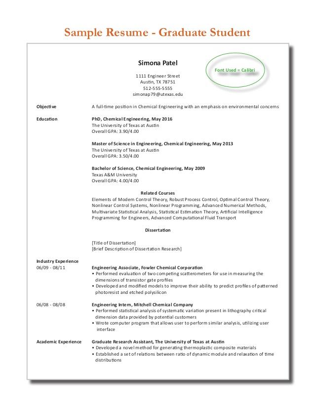 Sample resume chemical engineering student