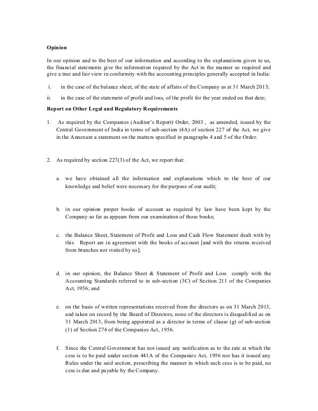 Sample Independent Auditors Report