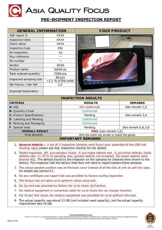 sample preshipment inspection report