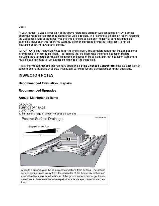 Sample inspector notes 1