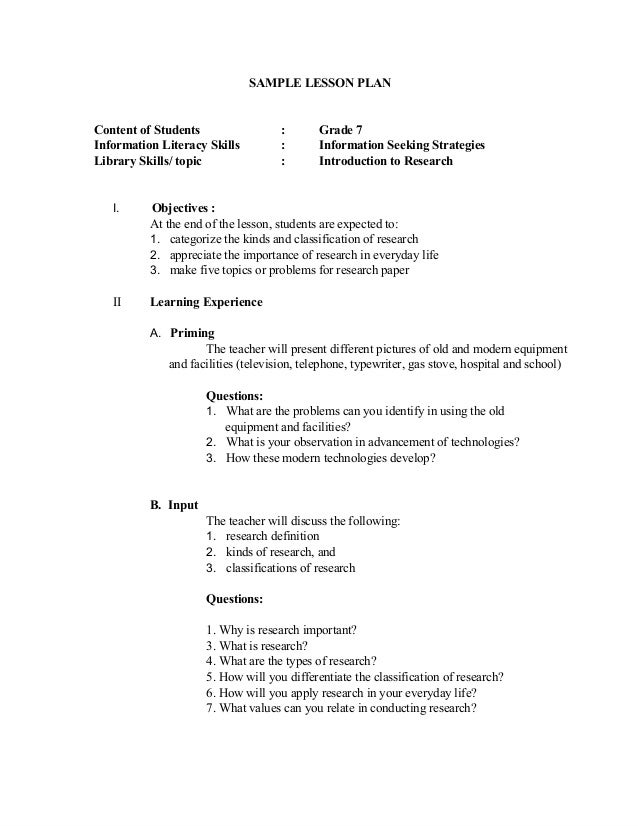 SAMPLE LESSON PLAN Content of Students : Grade 7 Information Literacy Skills : Information Seeking Strategies Library Skil...