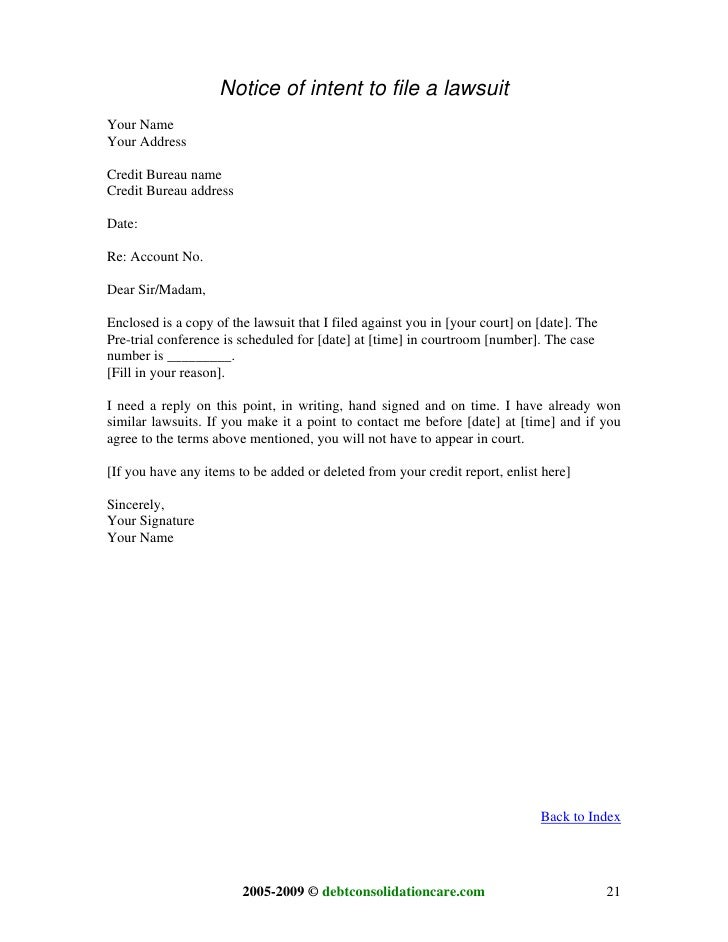 intent to sue letter template - sampleletter