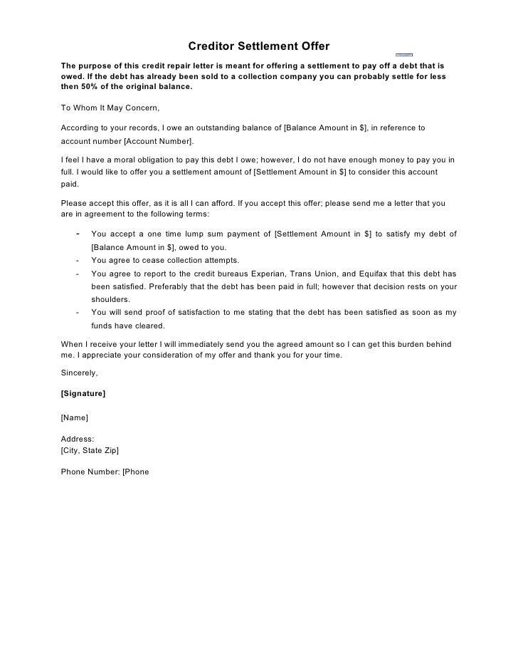 Settlement In Full Letter Template