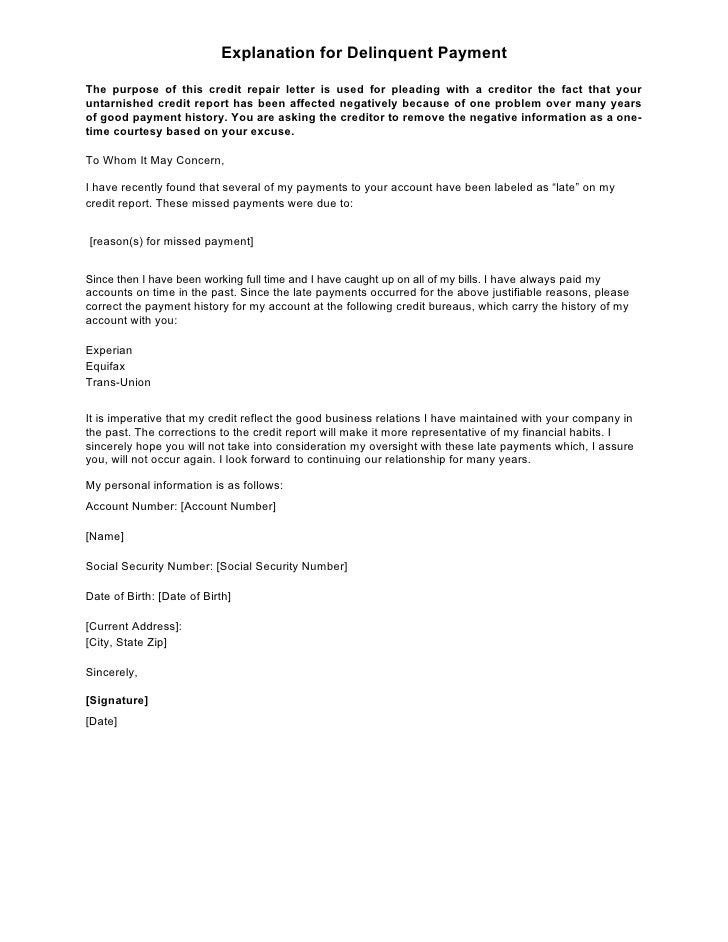 Sample Letter Explanation For Delinquent Payment
