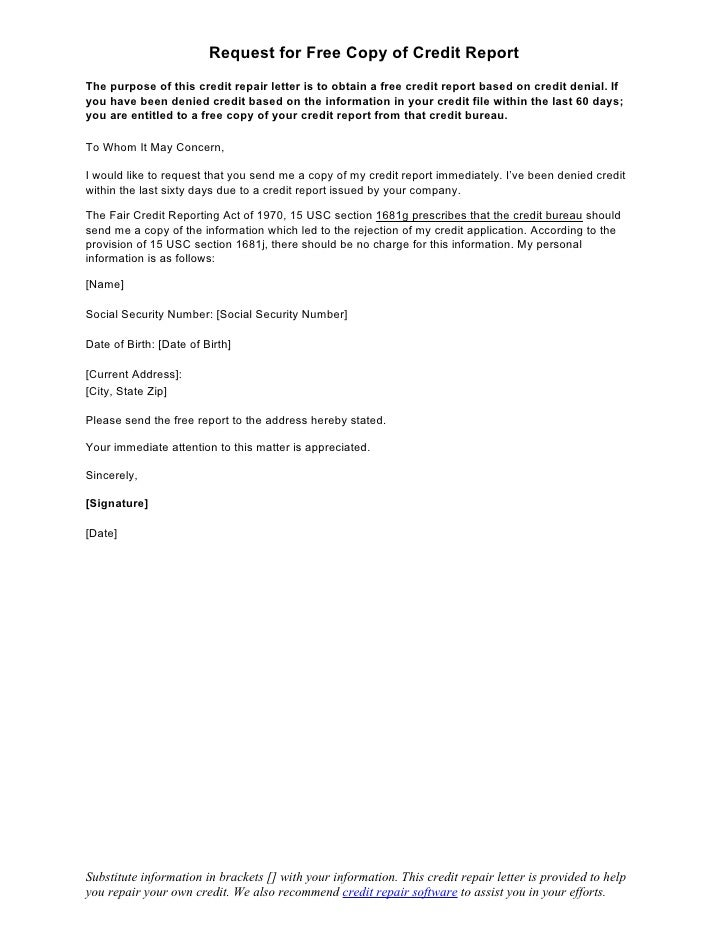 Sample Letter Request For Free Copy Of Credit Report