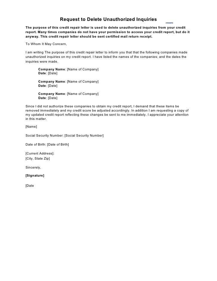 Sample Letter Request To Delete Unauthorized Inquiries