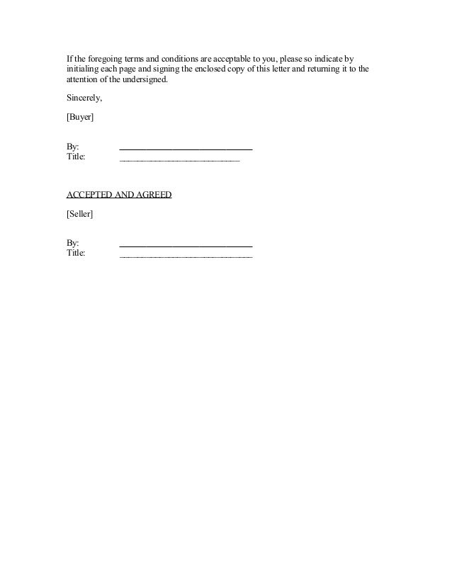Sample Letter Of Intent