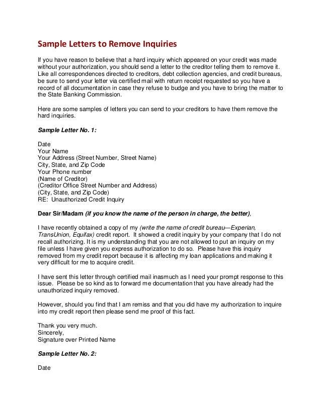 Credit Inquiry Letter. Inquiry Removal Request Bonus Creditor ...