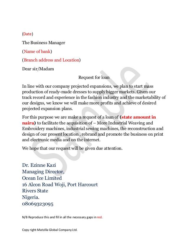 Request letter for bank draft loan application letter sample to bank expocarfo Images