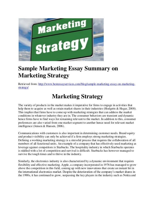 marketing strategy project essay Customer-driven marketing strategy chap 7 submit project paper #1:  parts i to iii product, services and branding strategies/new product  development.